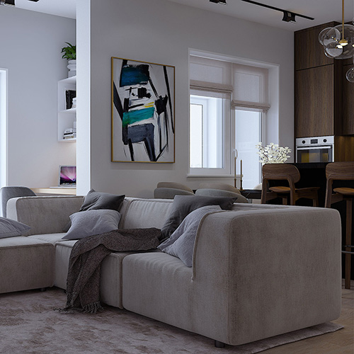 SK Interiors | Design-project of an apartment in residential complex Rodnoi Gorod, Moscow, 74 m²